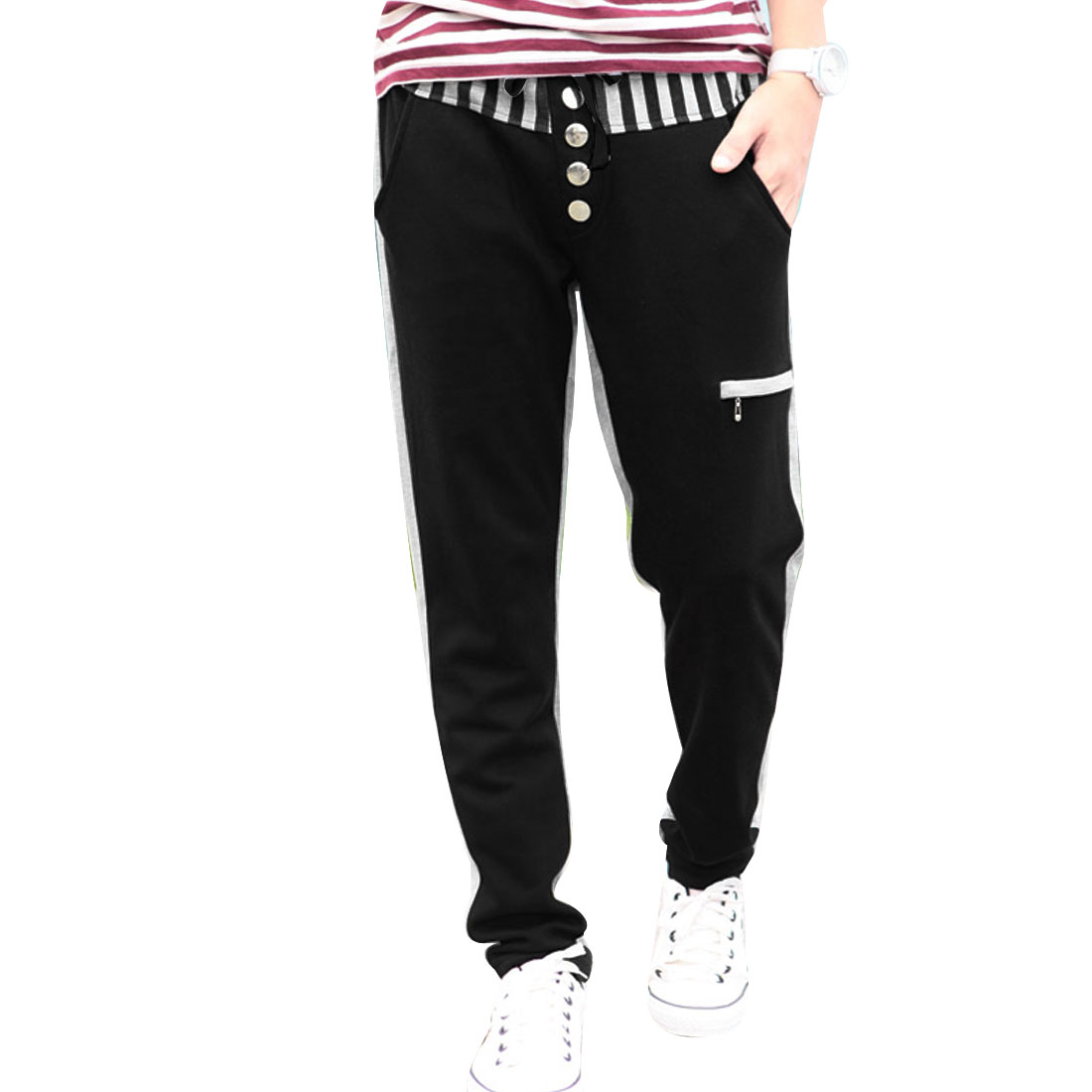 Korean Men Letter Printed Elastic Waist Black Gray Pants W30