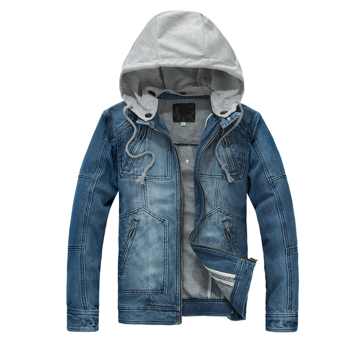 Mens New Fashion Light Blue Zip Up Thick Denim Jacket M