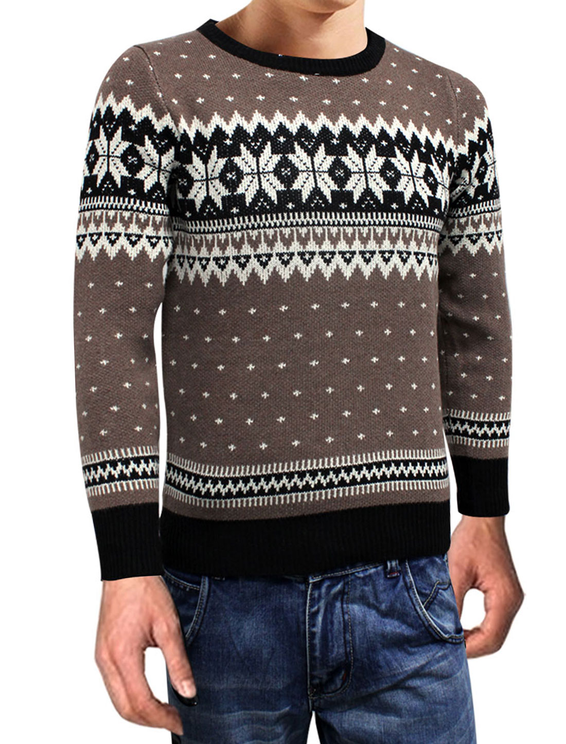 New Fashion Round Neck Coffee Color Black Sweater for Men S