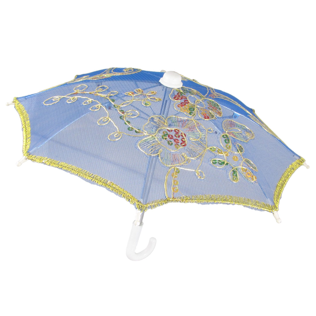 Plastic Hook Handle Gold Tone Flower Pattern Blue Mesh Cover Umbrella Parasol