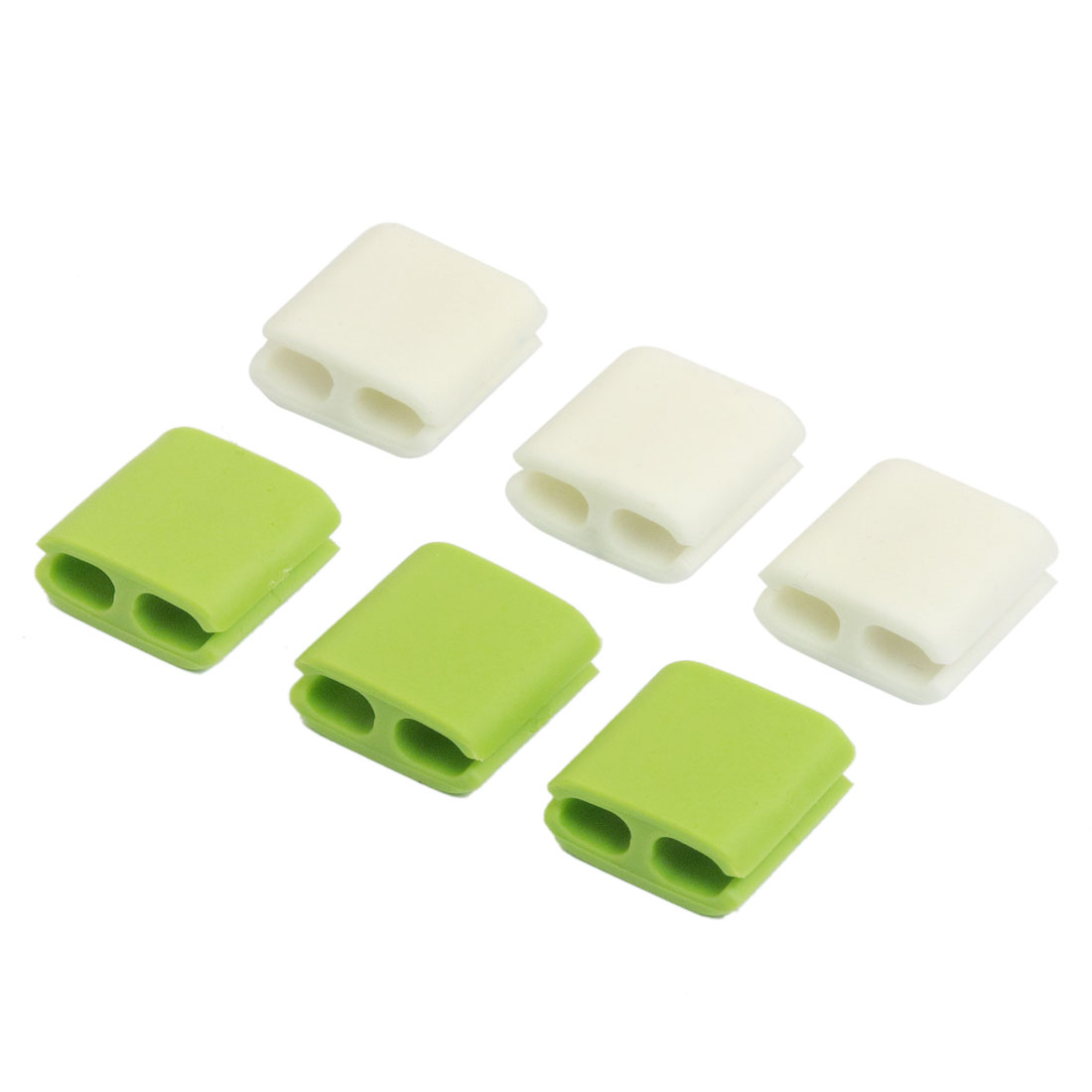 6 Pcs Rubber Wire Cord Cable Clips Holder Organizer White Green