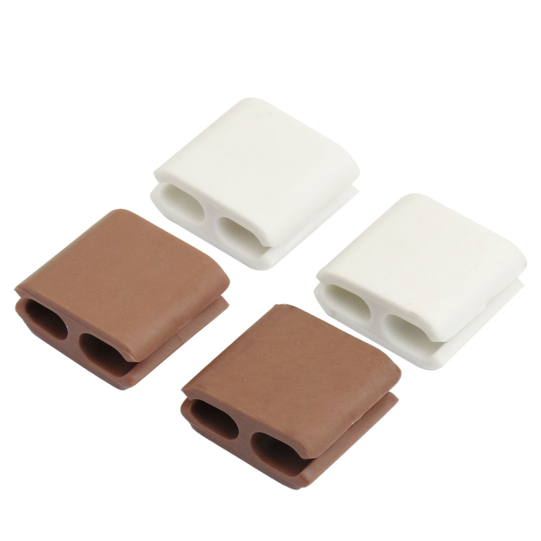 4 x Rubber Scattered Cord Cable Clip Organizer Fixer White Coffee Color