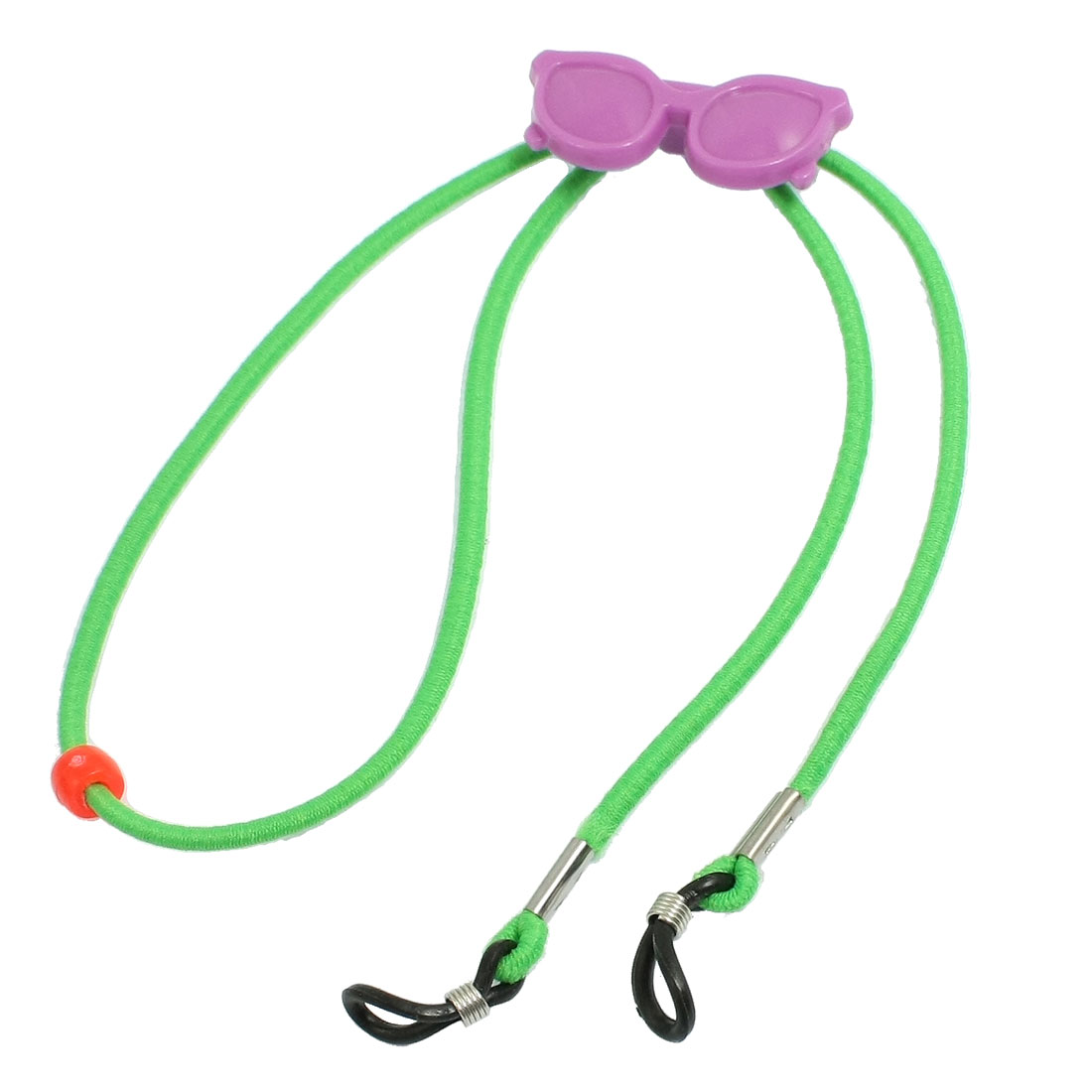 Green Elastic Rope Purple Glasses Accent Adjustable Rubber Loop Tip Eyewear Retainer