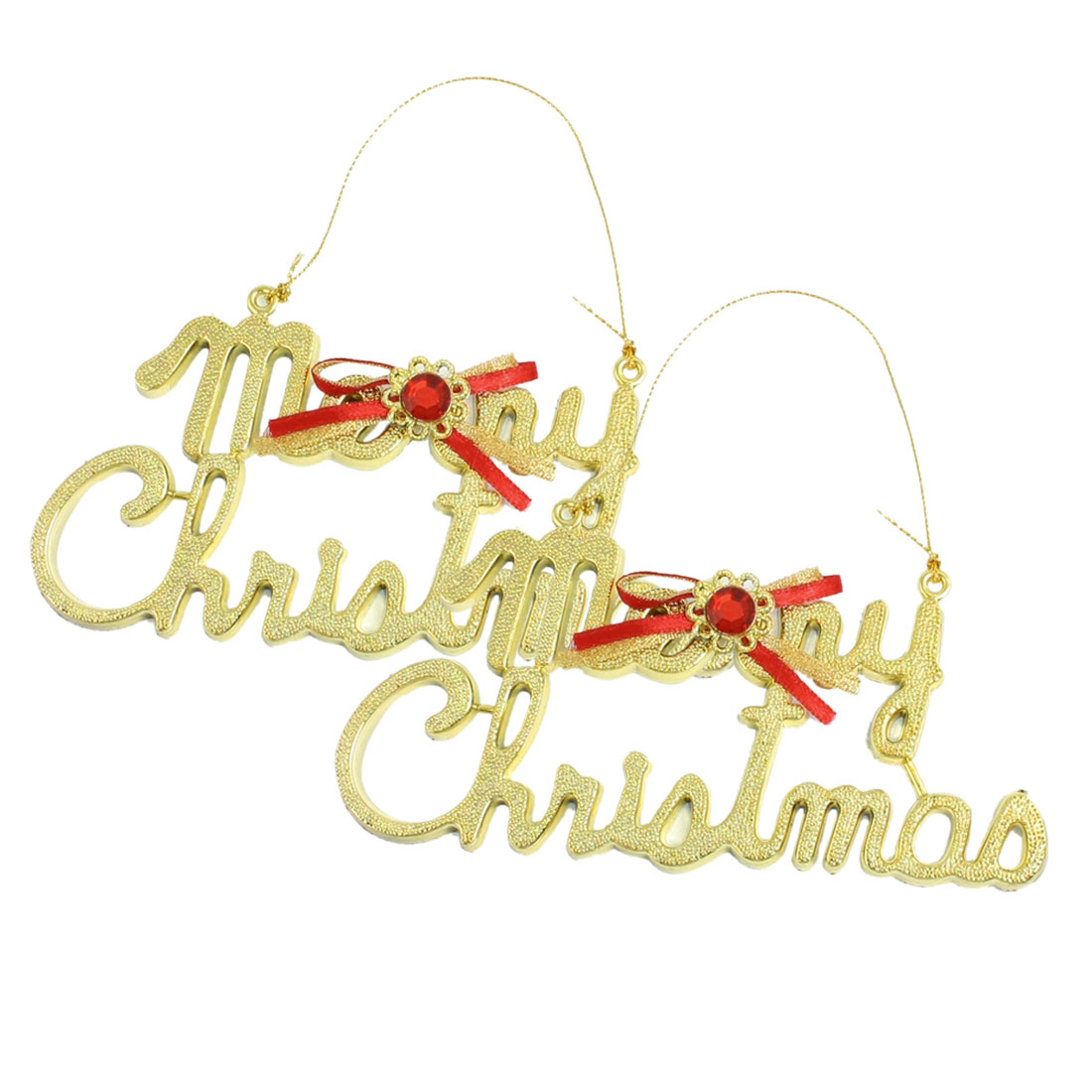 2 Pcs Rhinestone Bowknot Decor Gold Tone Merry Christmas Tree Door Hanger