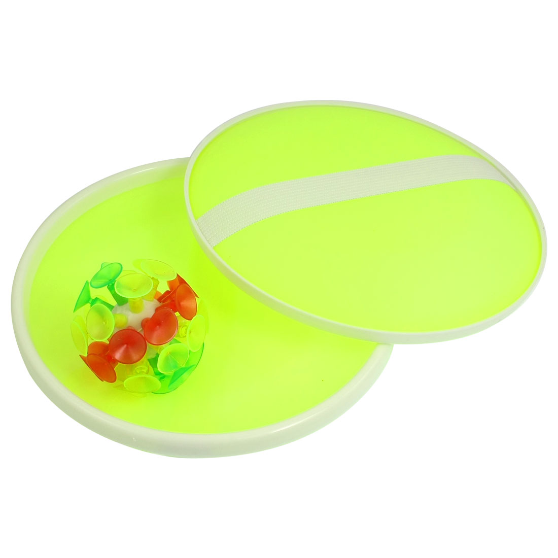 Child Pair Yellowgreen Catchers Colorful Silicone Suction Ball Toss Game Toy