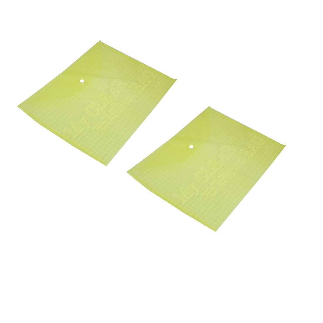 2 Pcs Clear Yellow Press Button Closure PVC File Document Holder Bag for A4 Paper