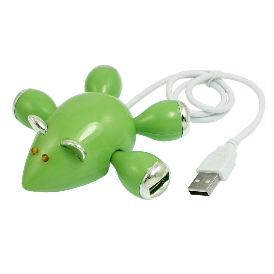 Green Mouse Style High Speed PC Adapter USB 2.0 4-Outport Hub