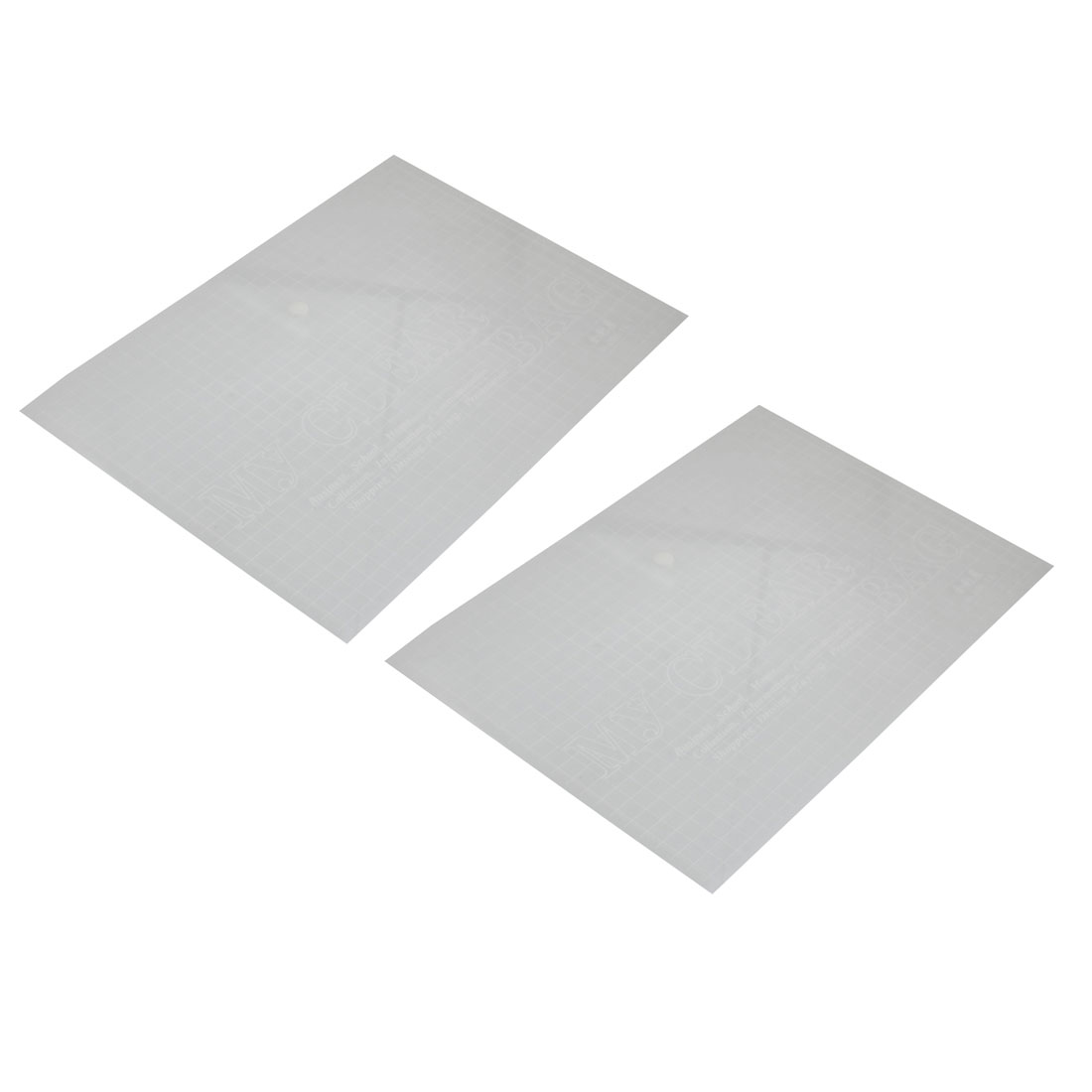 2 Pcs Clear White Press Button Closure PVC File Document Holder Bag for A4 Paper