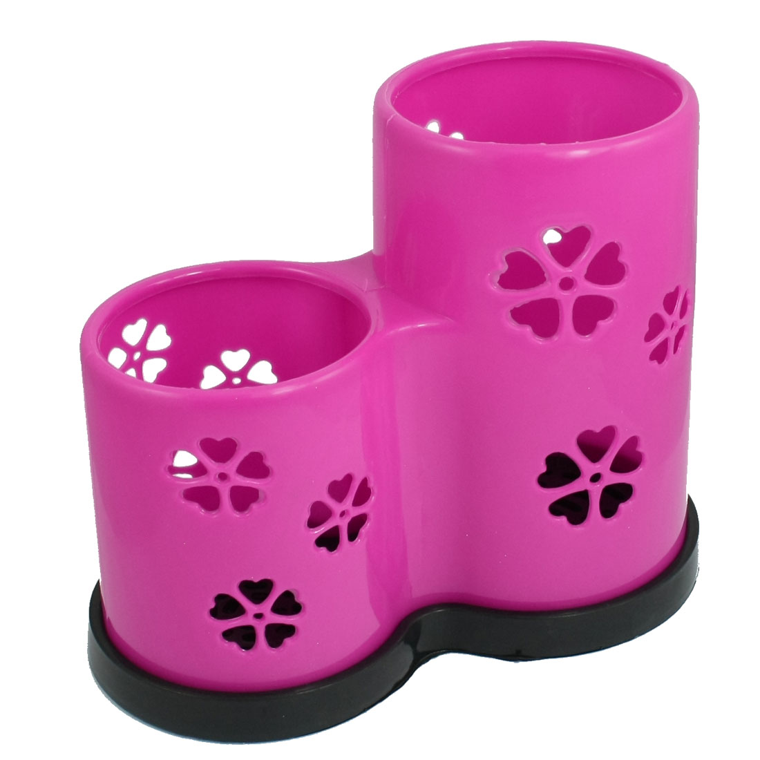 Magenta Round 2 Compartments Perforated Body Chopstick Holder Case