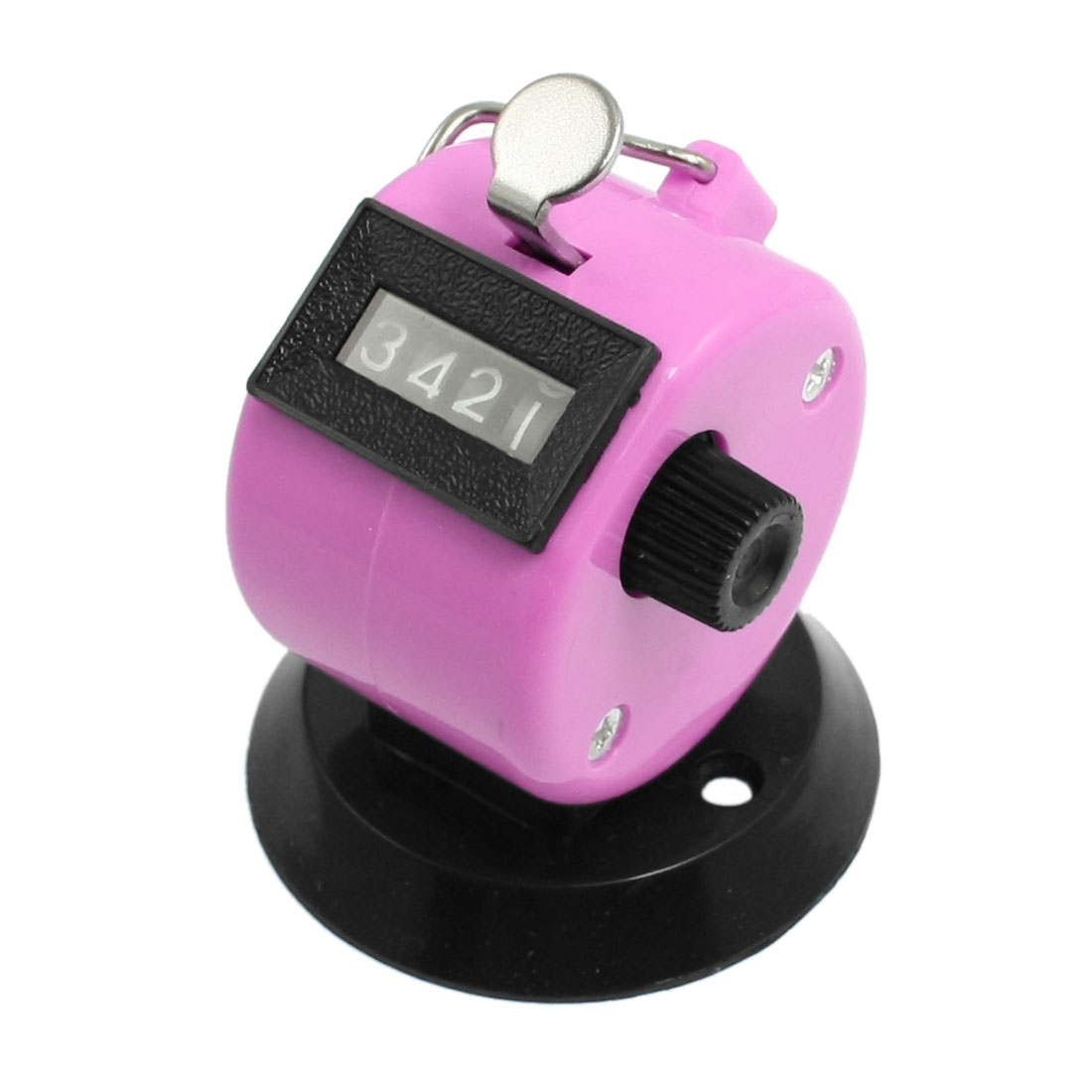 Black Pink Plastic 4 Digit Manual Hand Tally Palm Click Counter