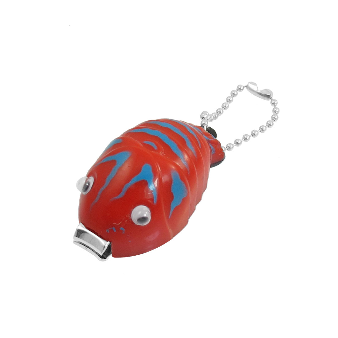 Red Plastic Shell Fish Shape Nail Manicure Clipper Cutter w Keychain