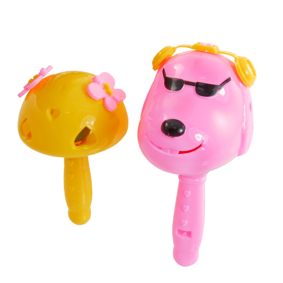 2 in 1 Plastic Yellow Mushroom Pink Dog Design Hand Shaking Bell Toy for Baby