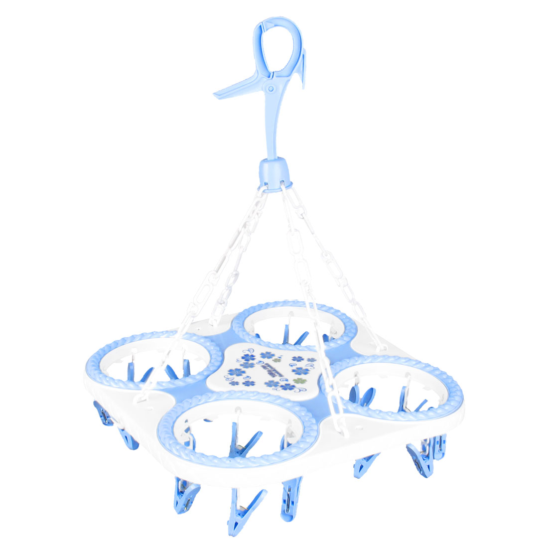 Home Flower Detail Square Hem Towels Scarf Hanger 24 Hooks Blue White