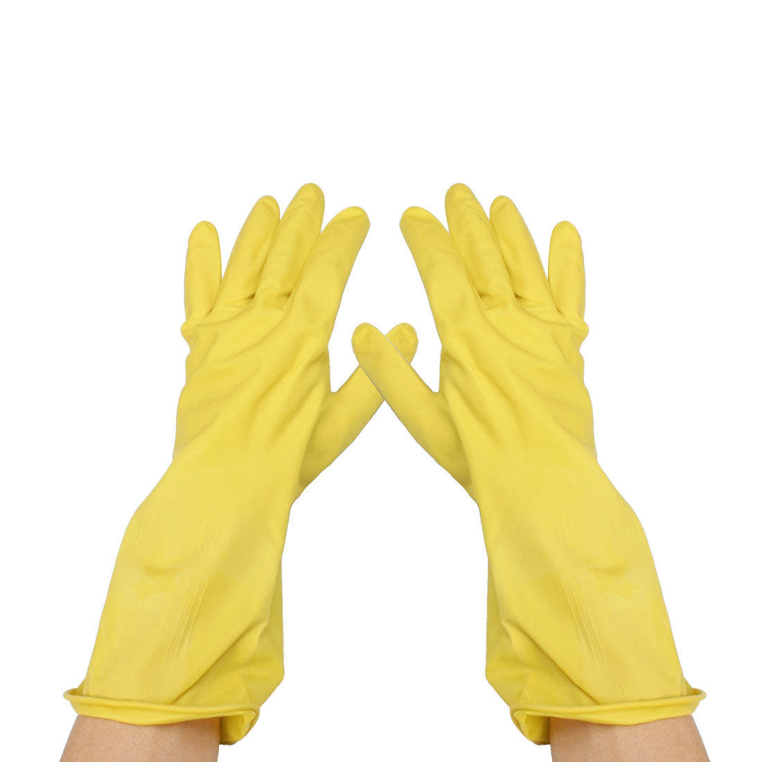 "Houseworking 12.8"" Long Yellow Latex Water Resistant Washing Gloves Pair"