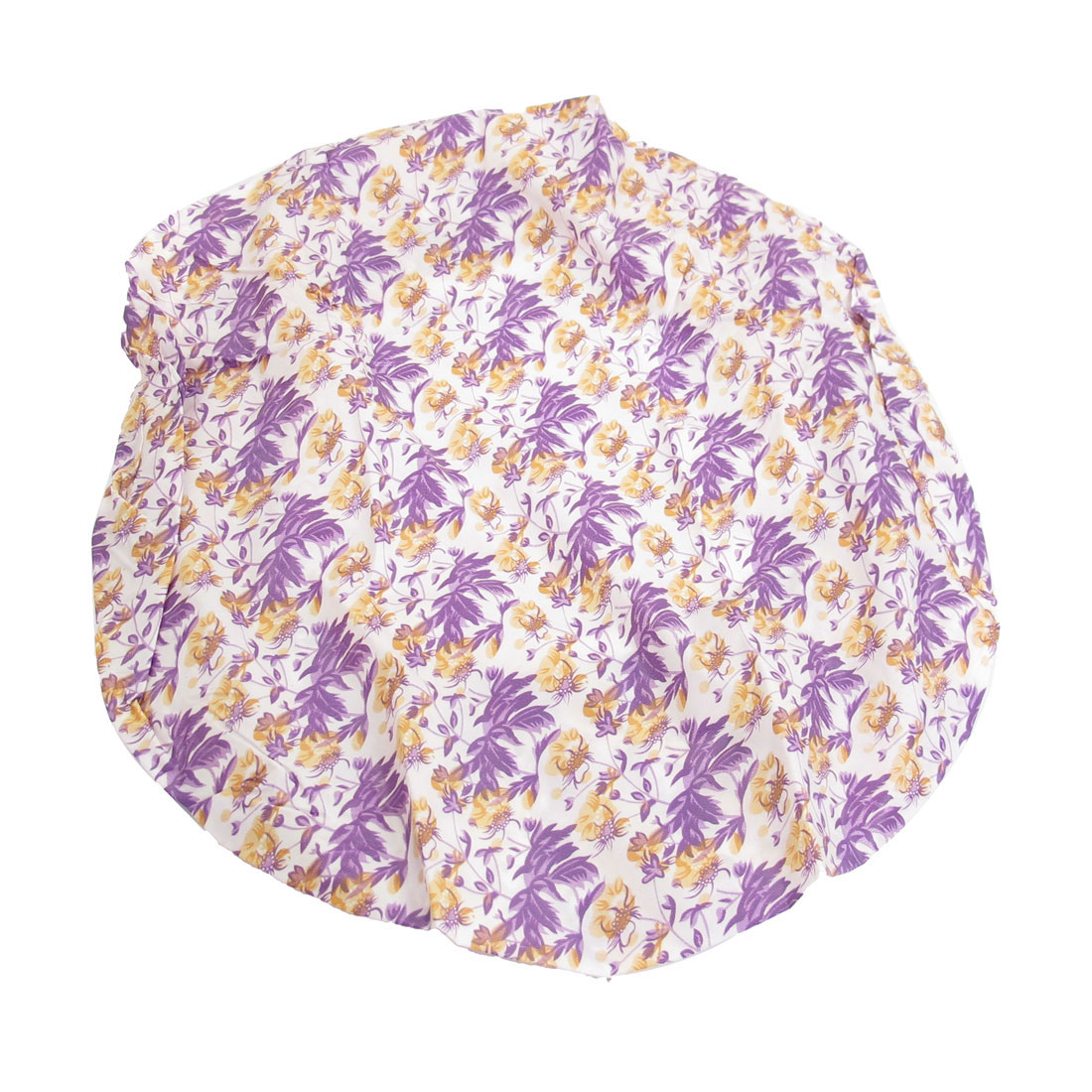 Elastic Hem Yellow Purple Flower Leaf Pattern Nylon Shower Cap Bath Hat 2 Pcs