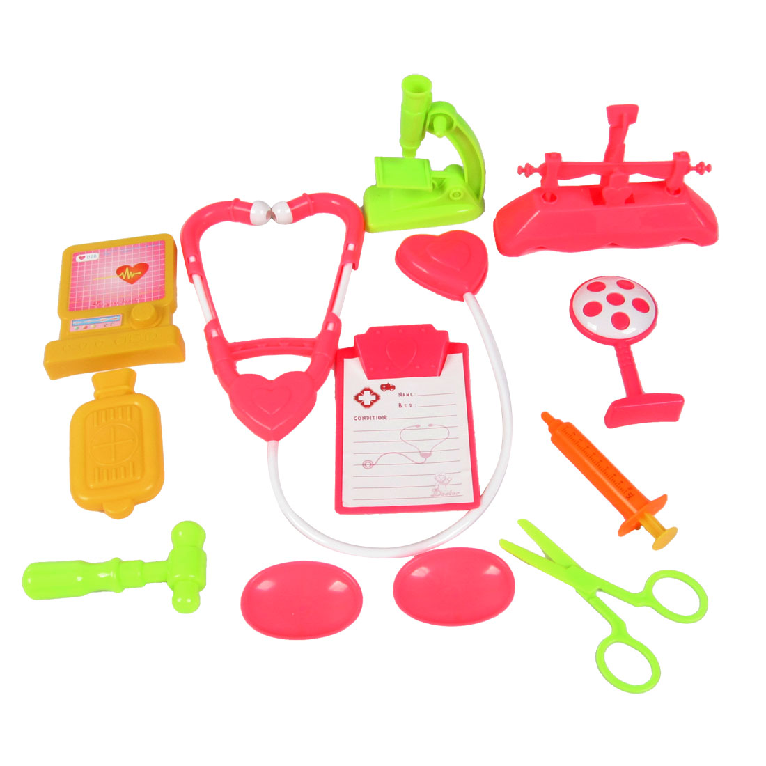 Plastic Doctor Tools Set 12 in 1 Colorful Toy for Children