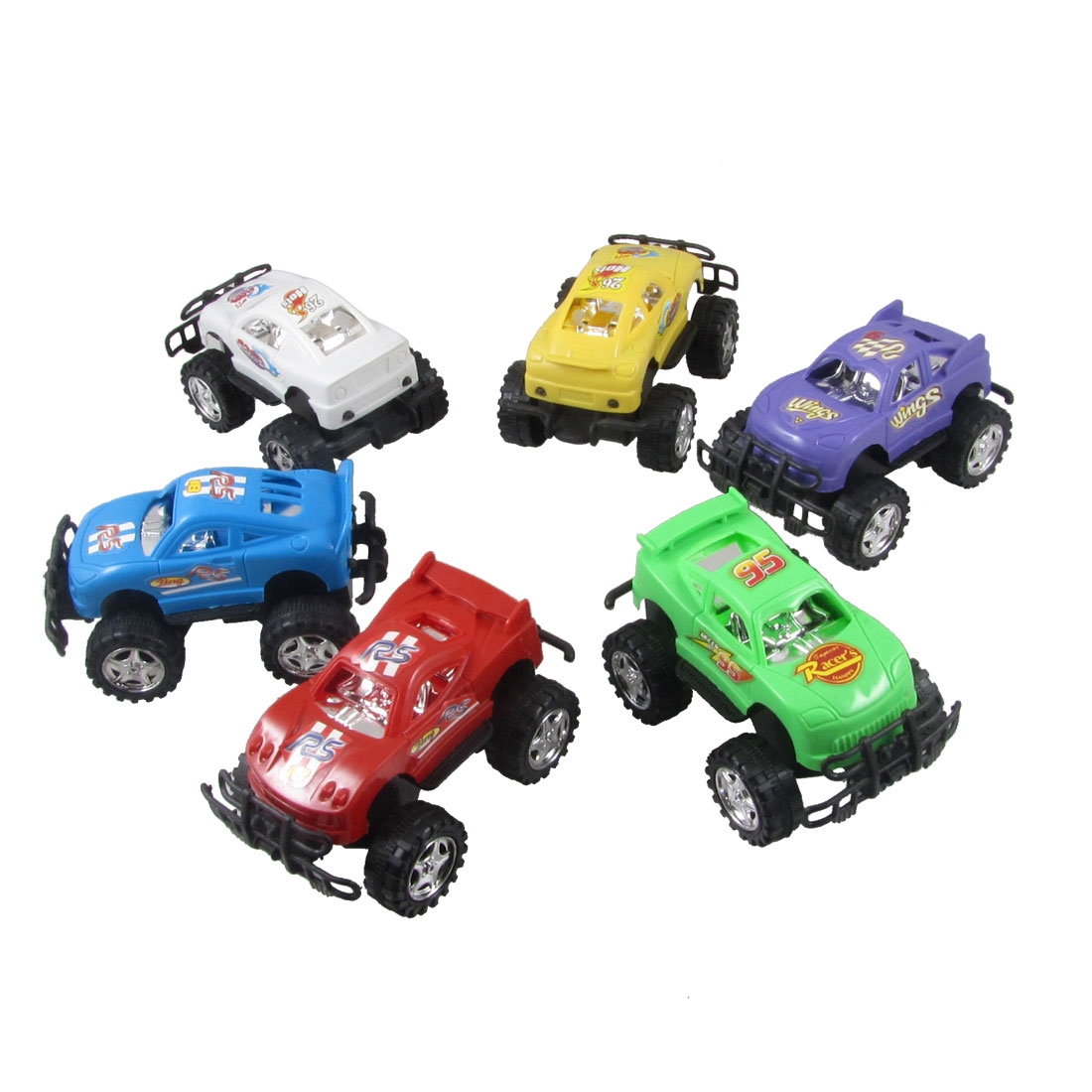 6 Pcs Green Blue Yellow Competition Racing Car Model Toy for Children