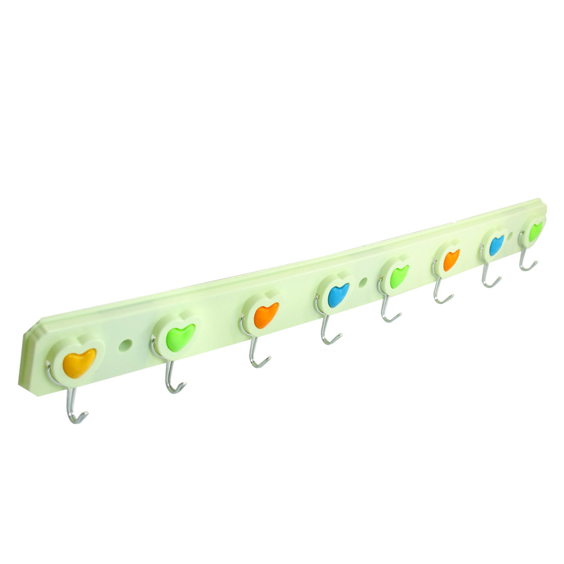 Bathroom Self Adhesive Back 8 Metal Hooks Towel Wall Hanger Light Green