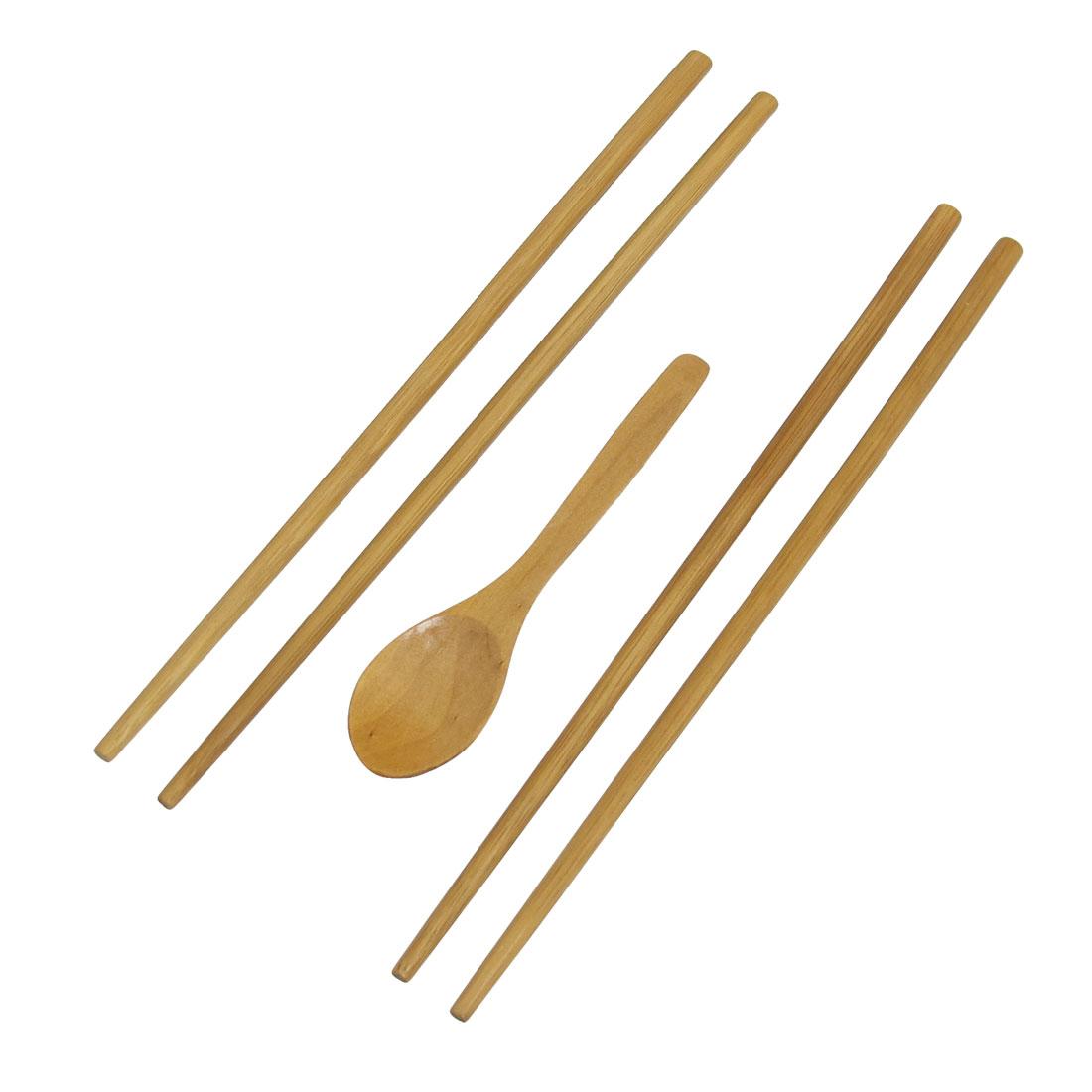 3 in 1 Beige Wooden Kitchen Replacement Chopsticks Spoon Dinnerware