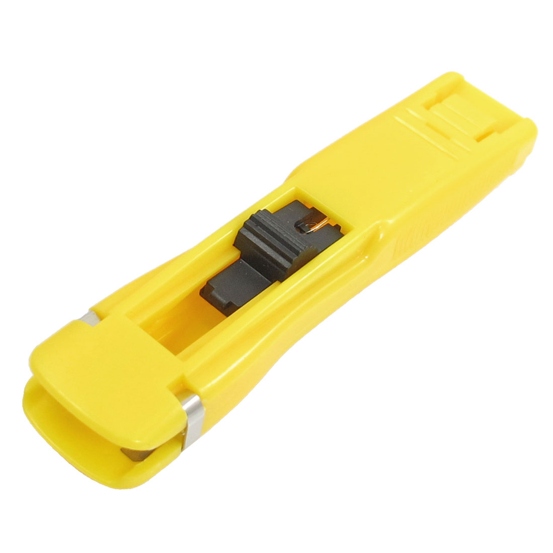 Yellow Spring Load Plastic Housing Paper Clam Dispenser w 40 Pcs Clips