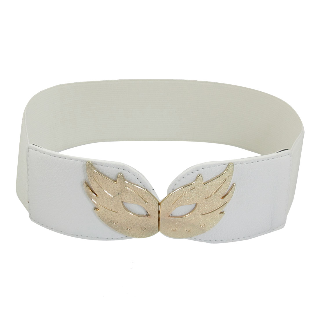 White Faux Leather Decor Textured Pattern Stretchy Waistband for Ladies