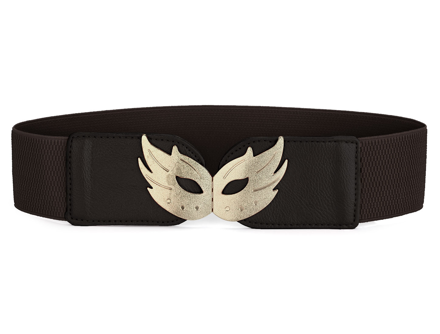 Dark Brown Mash Shaped Interlocking Buckle Stretchy Belt for Ladies