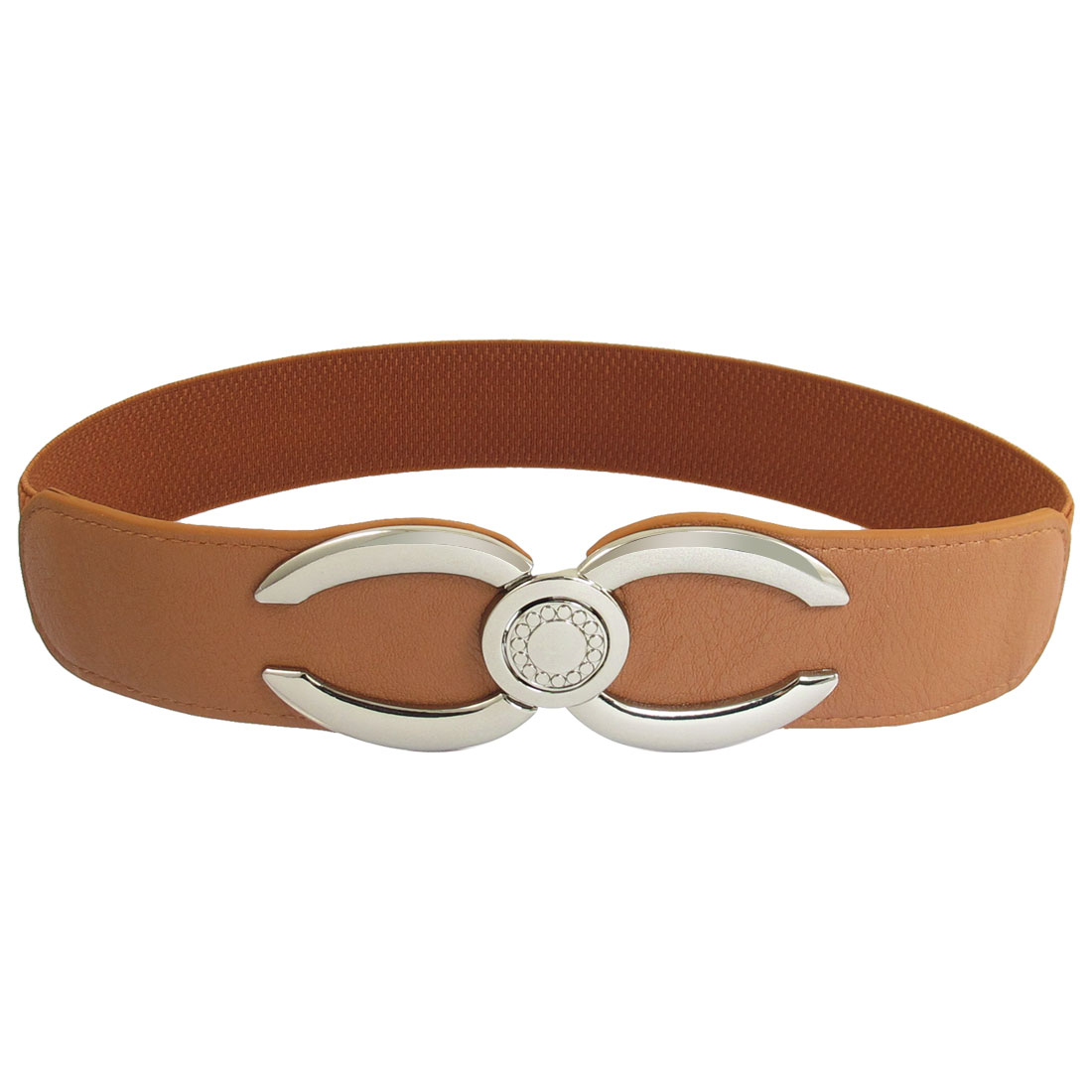 Ladies Stretchy Light Brown Metal Interlocking Buckle 4cm Width Waistband
