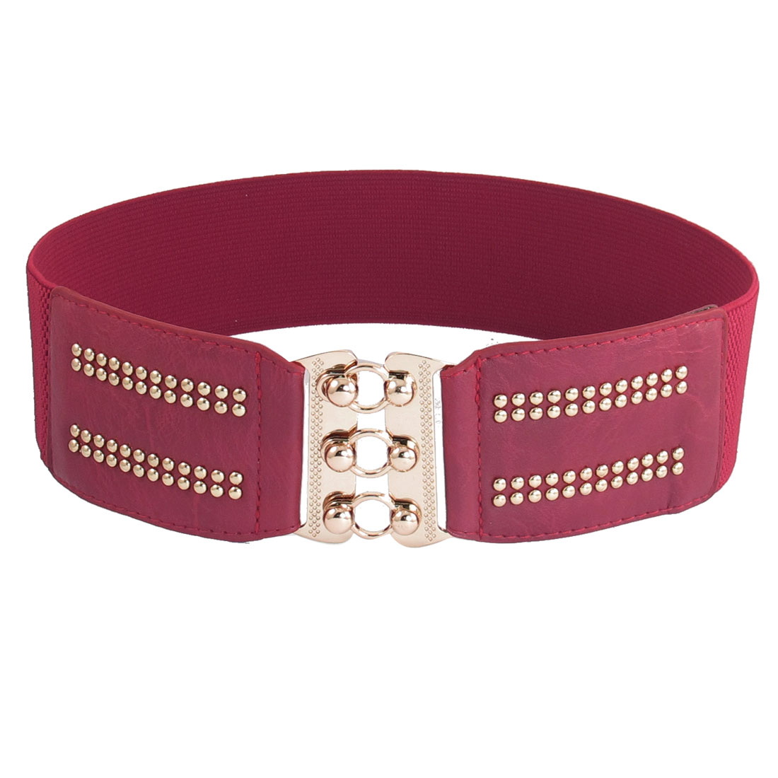 Red Metal Interlocking Buckle Stretchy Waistband Belt for Ladies