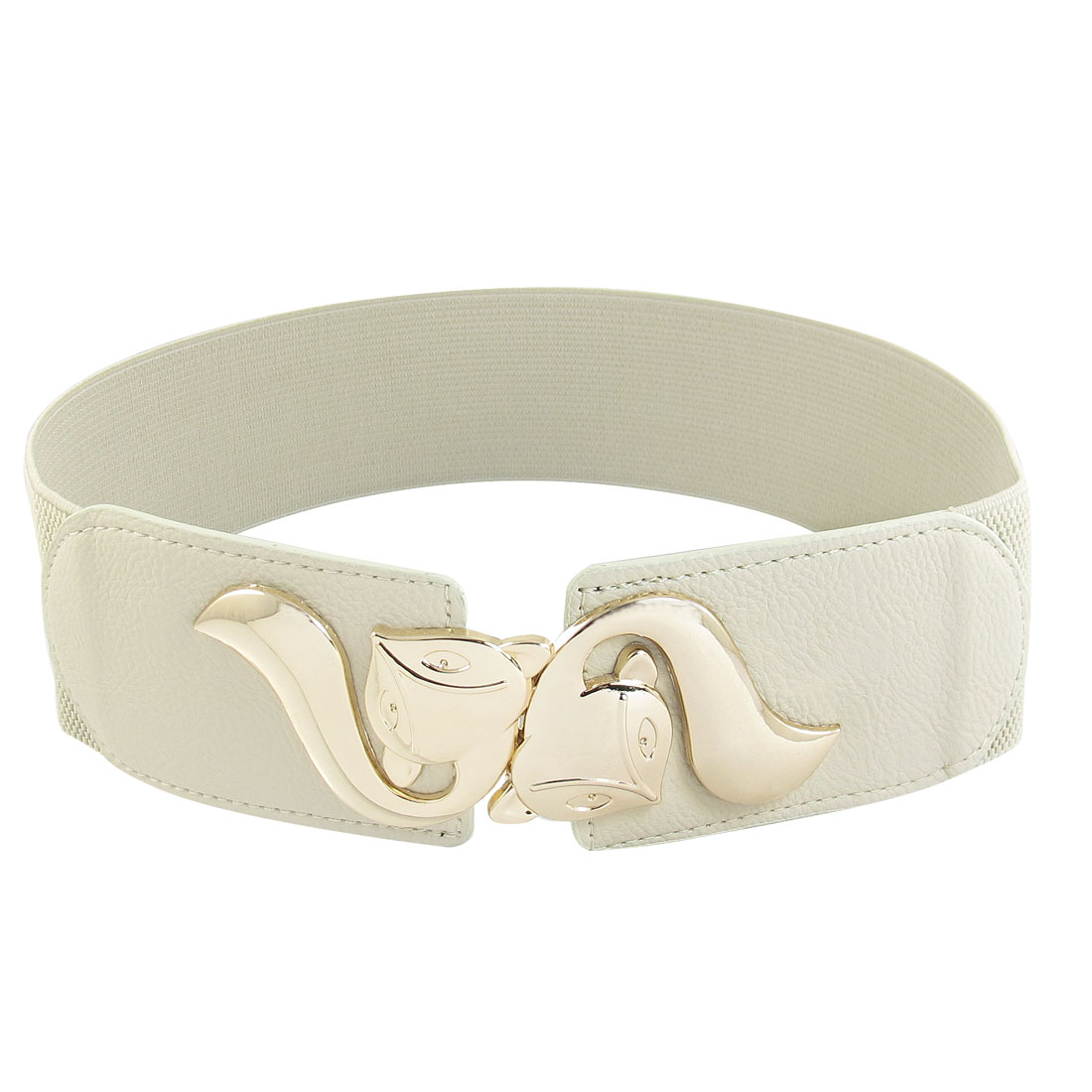 Light Beige Faux Leather Detail Textured Pattern Stretchy Belt for Women