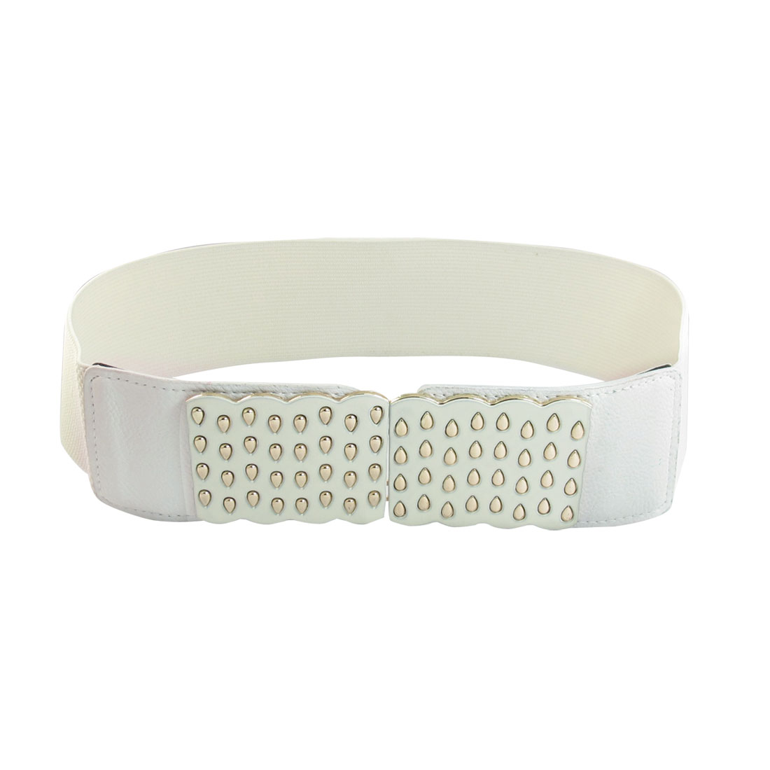 White Faux Leather Detail 6cm Width Stretchy Waistband Belt for Ladies