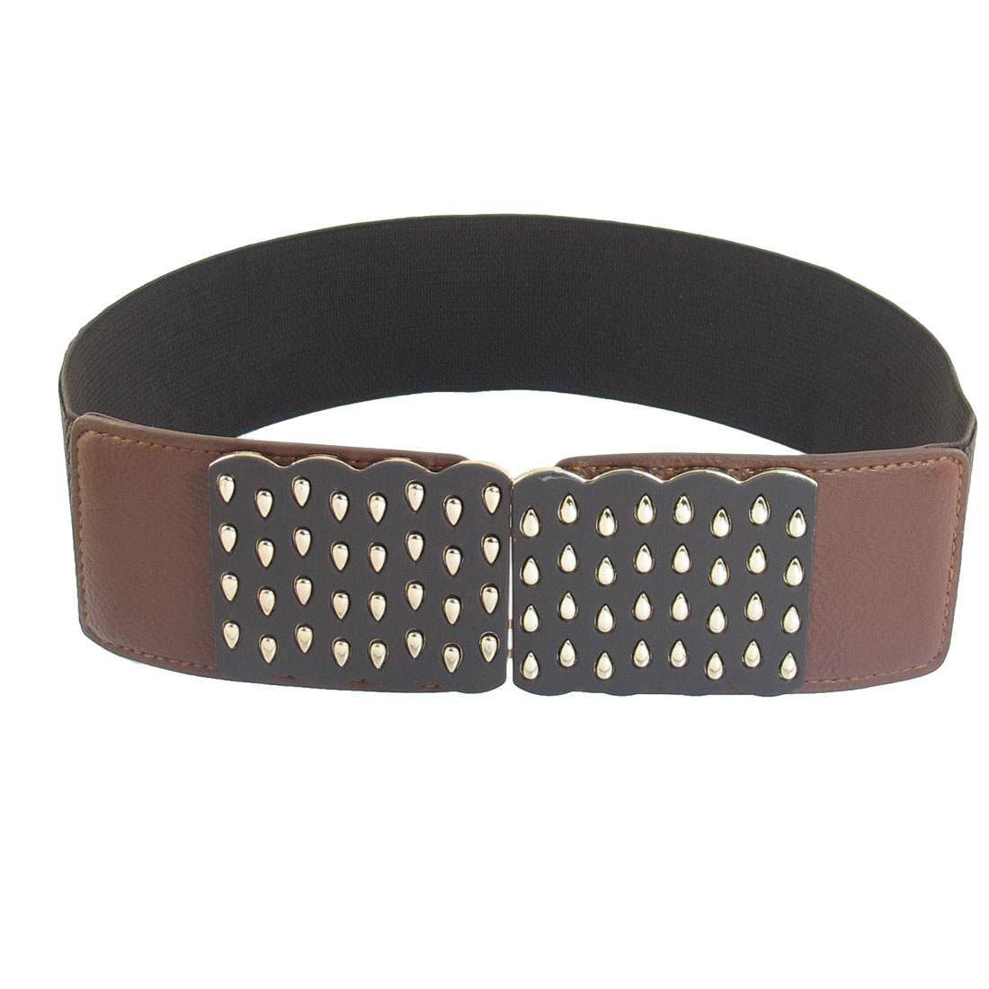 Dark Brown Textured Pattern Faux Leather Decor Stretchy Belt for Ladies