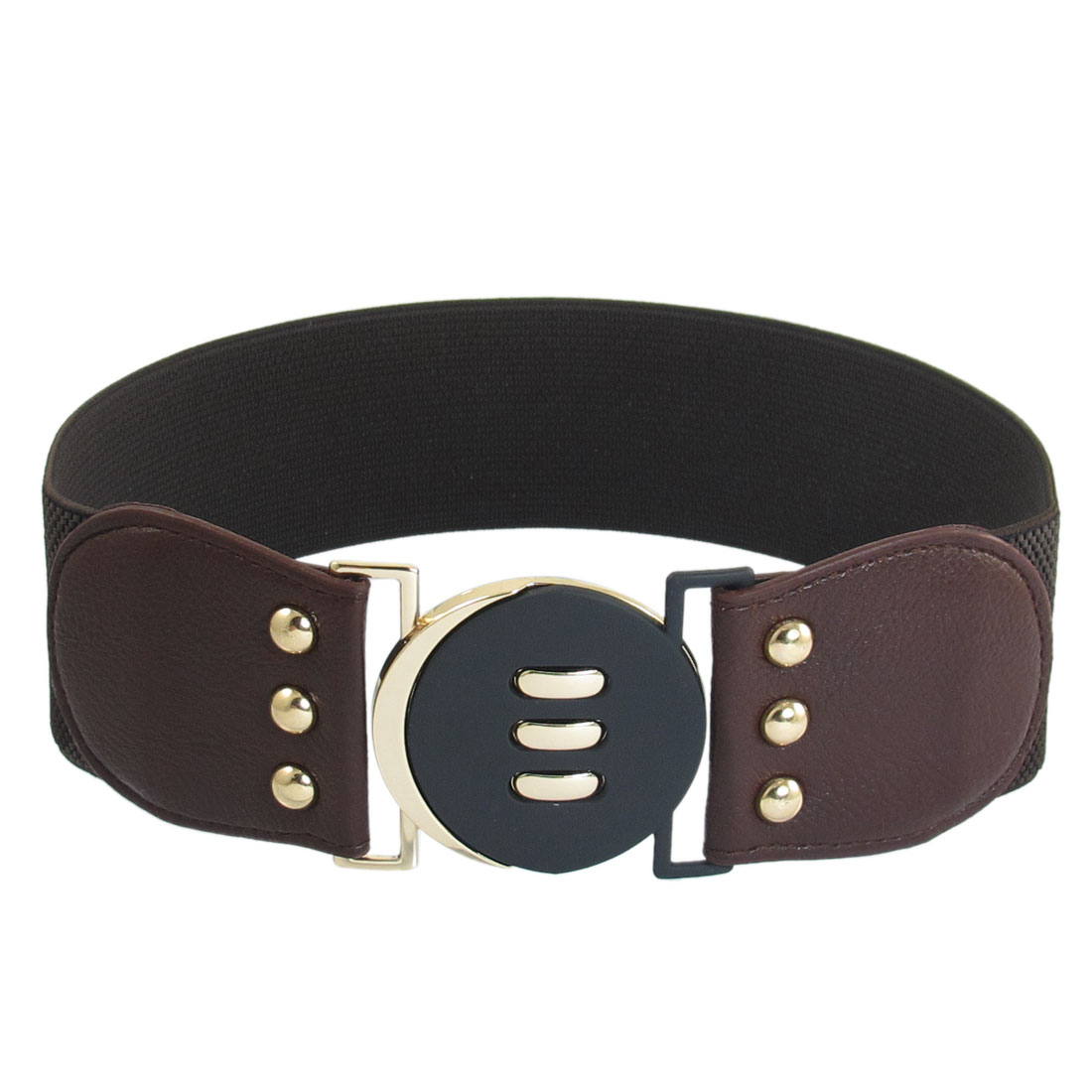 Dark Brown Elastic Textured Pattern Faux Leather Decor Belt for Women