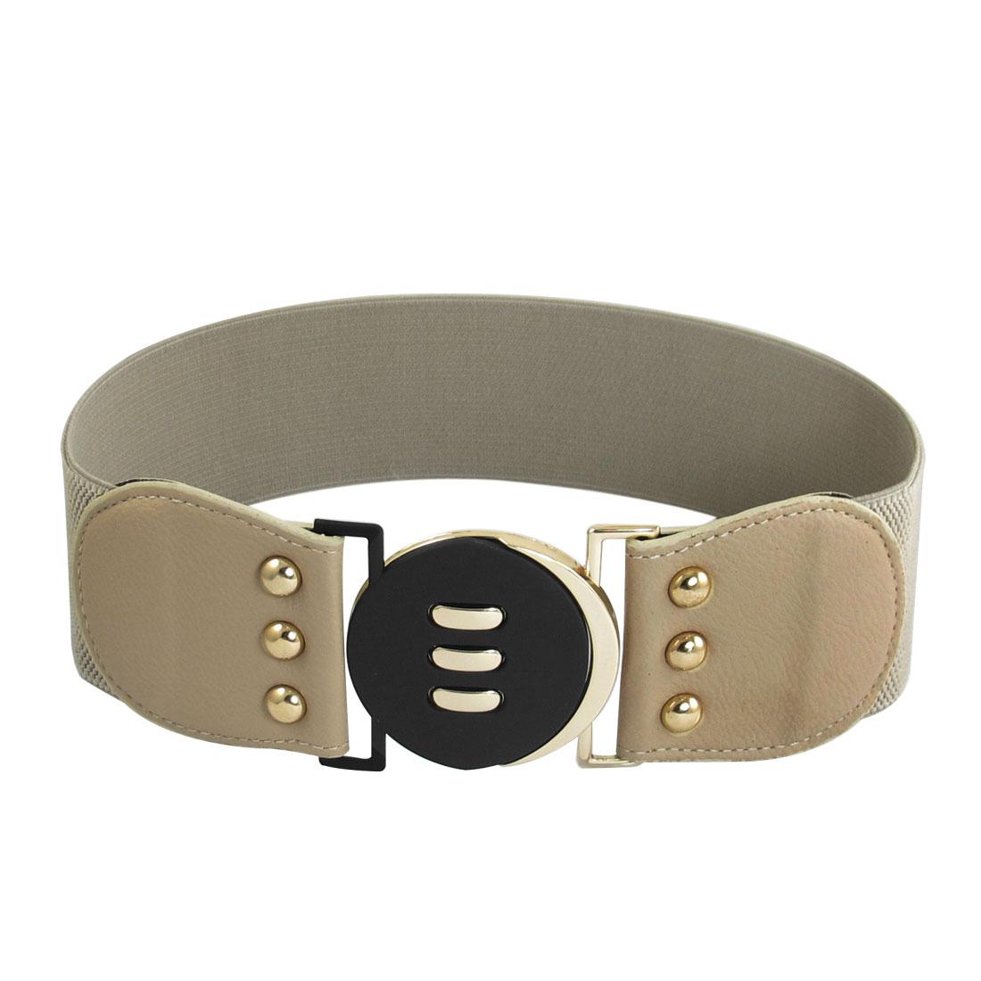Ladies Light Beige Metal Interlocking Buckle 6cm Width Stretchy Belt
