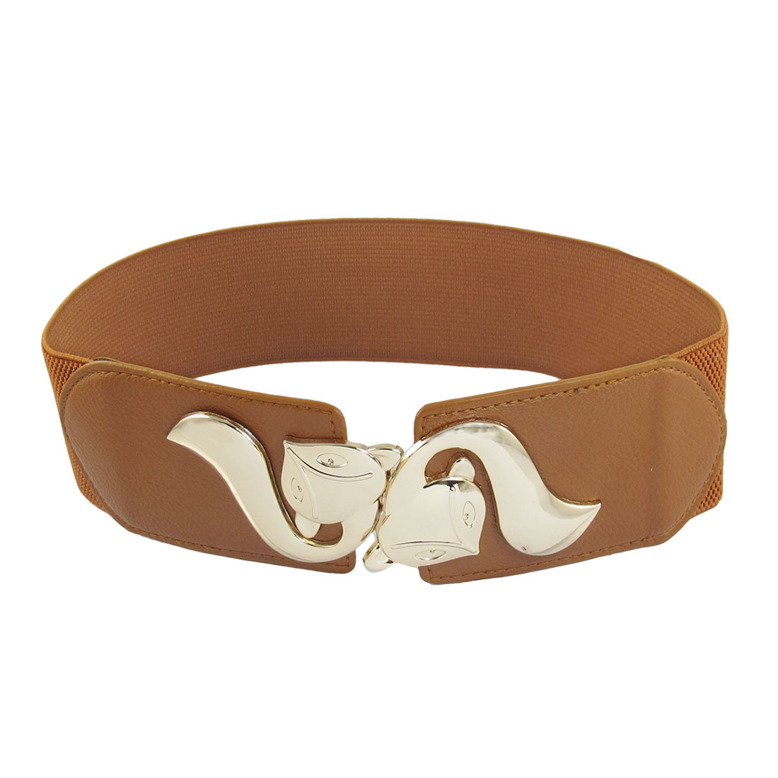 Light Brown Faux Leather Detail Textured Pattern Stretchy Belt for Ladies