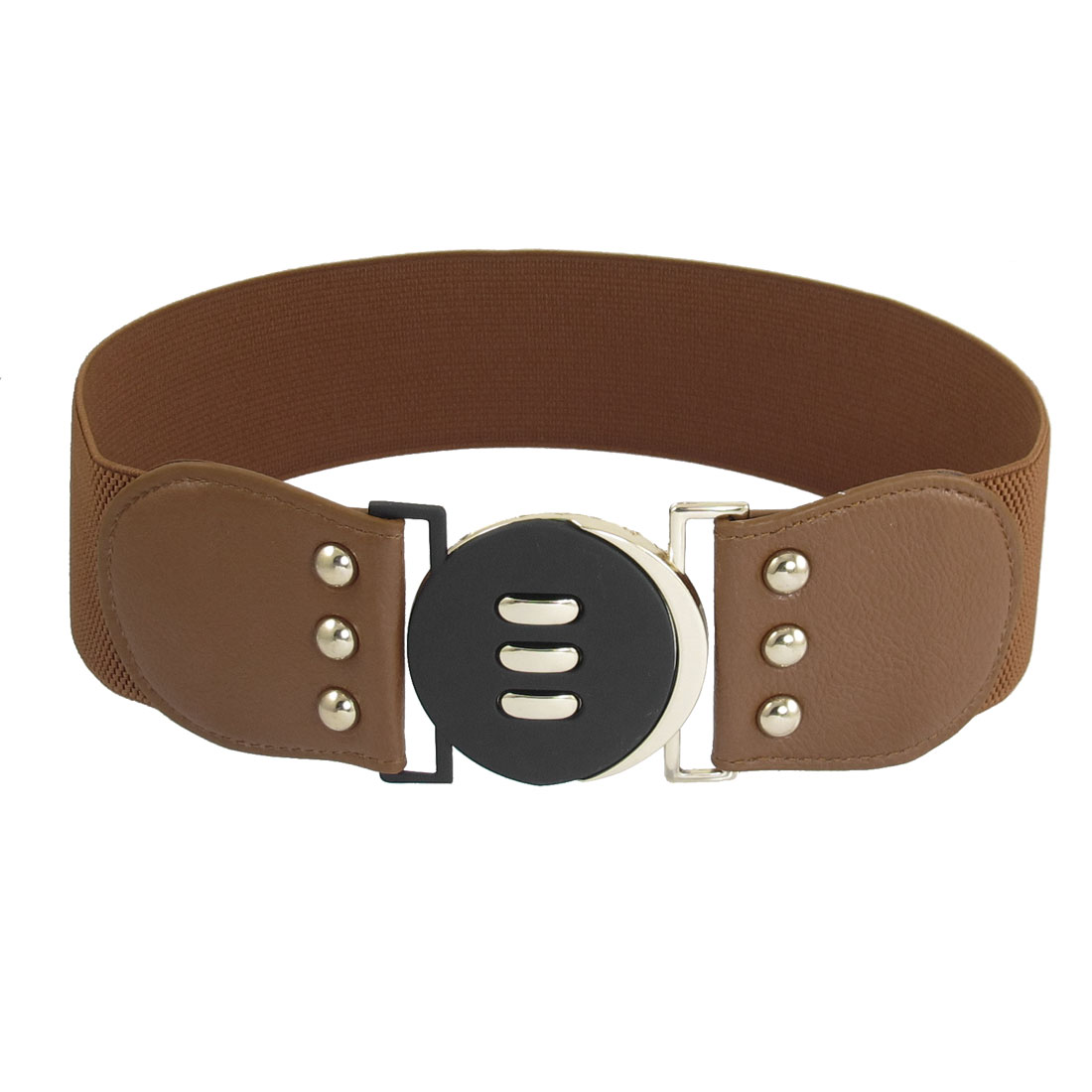 Women Brown Interlocking Buckle Faux Leather Detail Stretchy Waistband