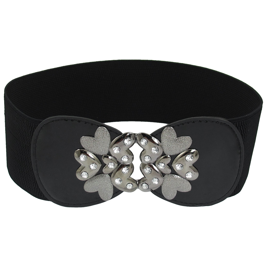 Black Faux Leather Decor Textured Pattern Stretchy Waistband for Ladies
