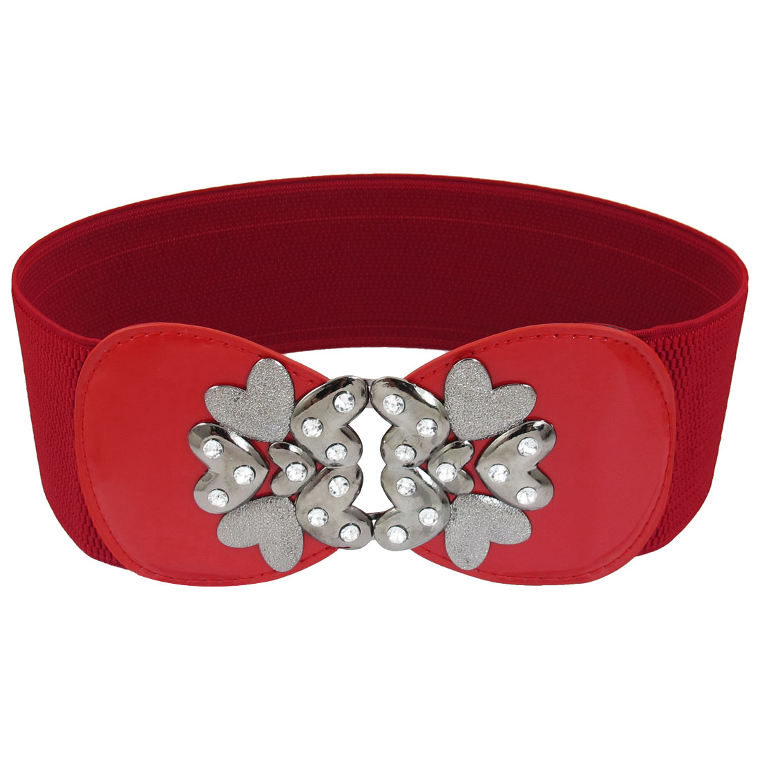 Red Flower Shaped Metal Interlocking Buckle Waistband for Ladies