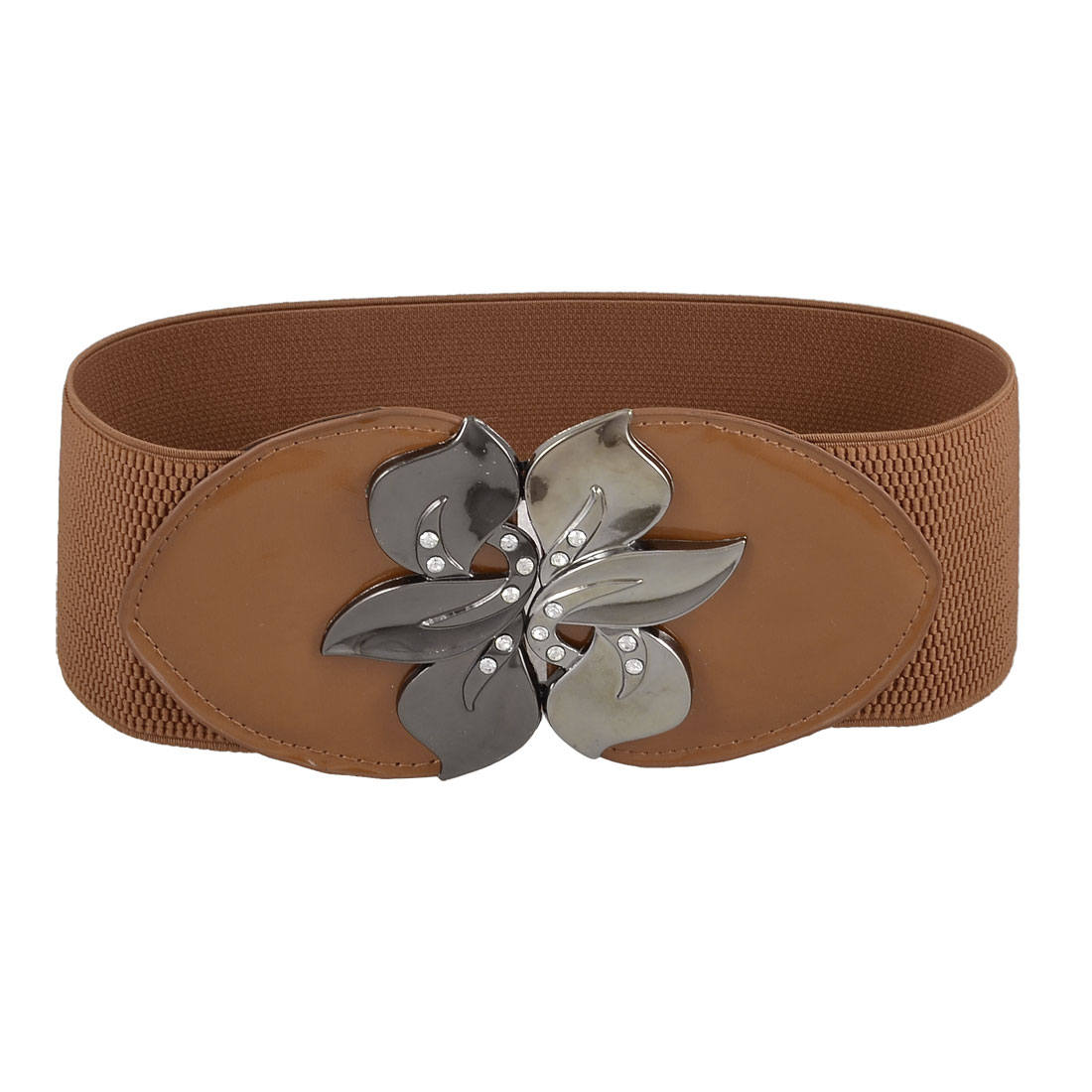Women One Size Light Brown Faux Leather Decor Stretchy Waistband Belt