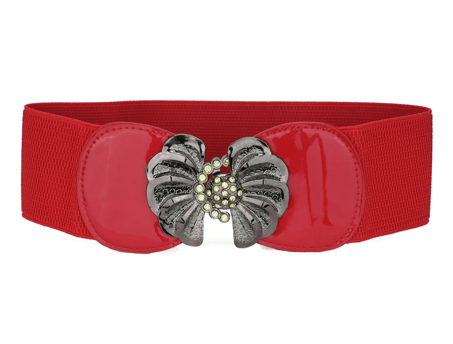 Red Metal Interlocking Buckle Rhinestone Detail Stretchy Belt for Ladies