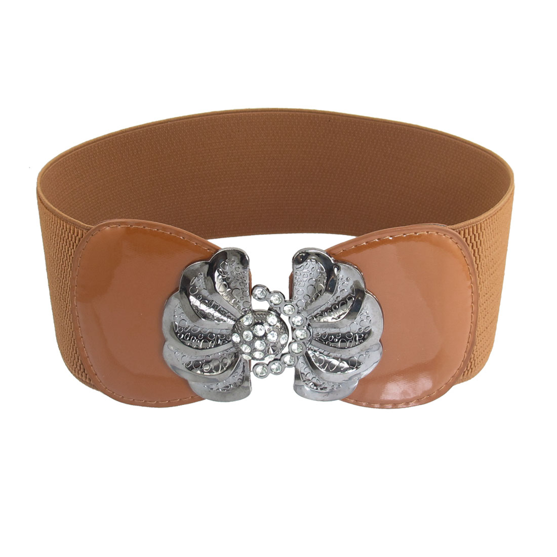Light Brown Textured Pattern Rhinestone Decor Stretchy Belt for Ladies
