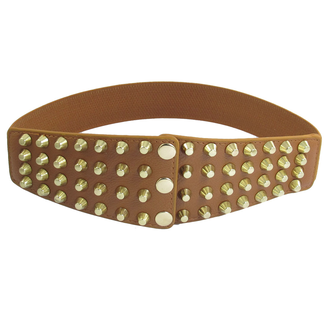Ladies Light Brown Press Buckle Metal Studded Detail Stretchy Belt