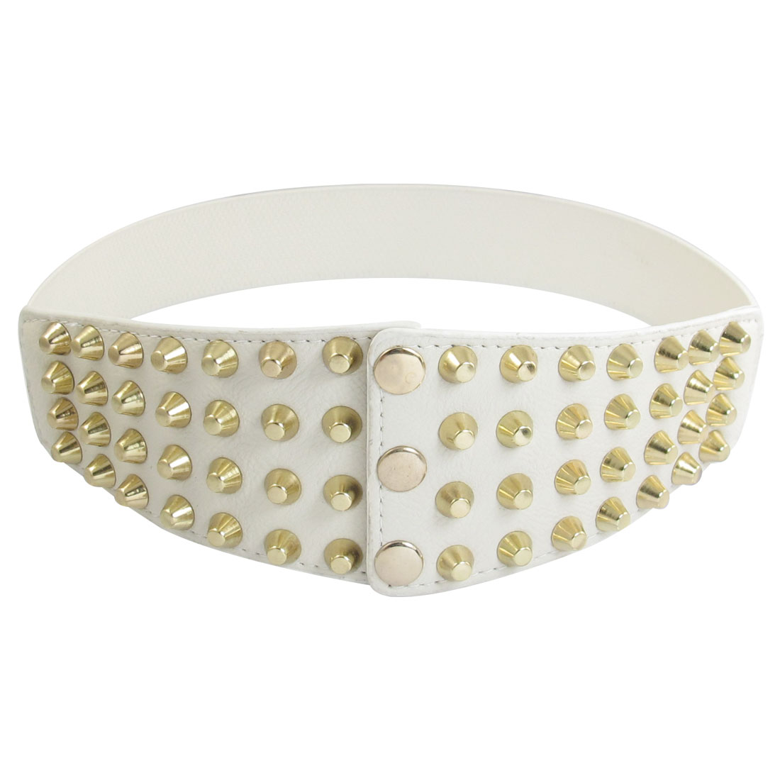 White Faux Leather Decor Press Buckle Stretchy Waistband for Ladies