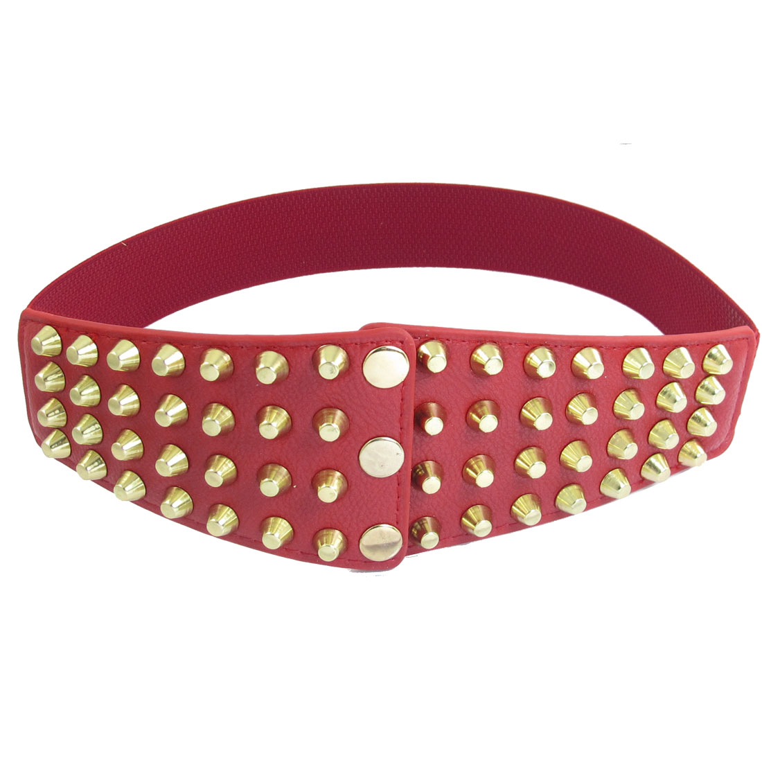 Red Faux Leather Detail 4cm Width Stretchy Waistband Belt for Ladies