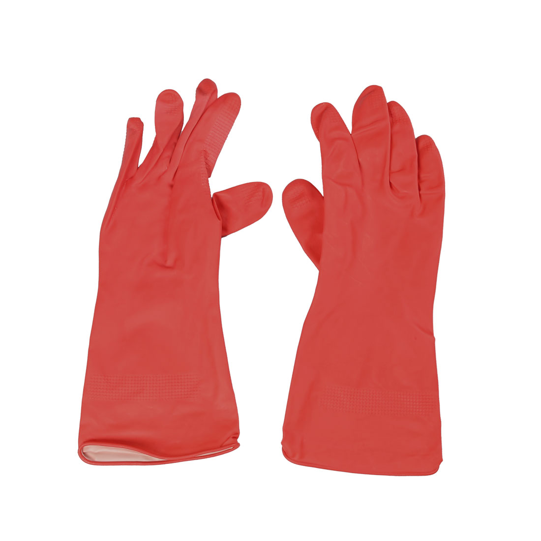 "Industry Household 11"" Length Red Latex Full Finger Working Gloves"