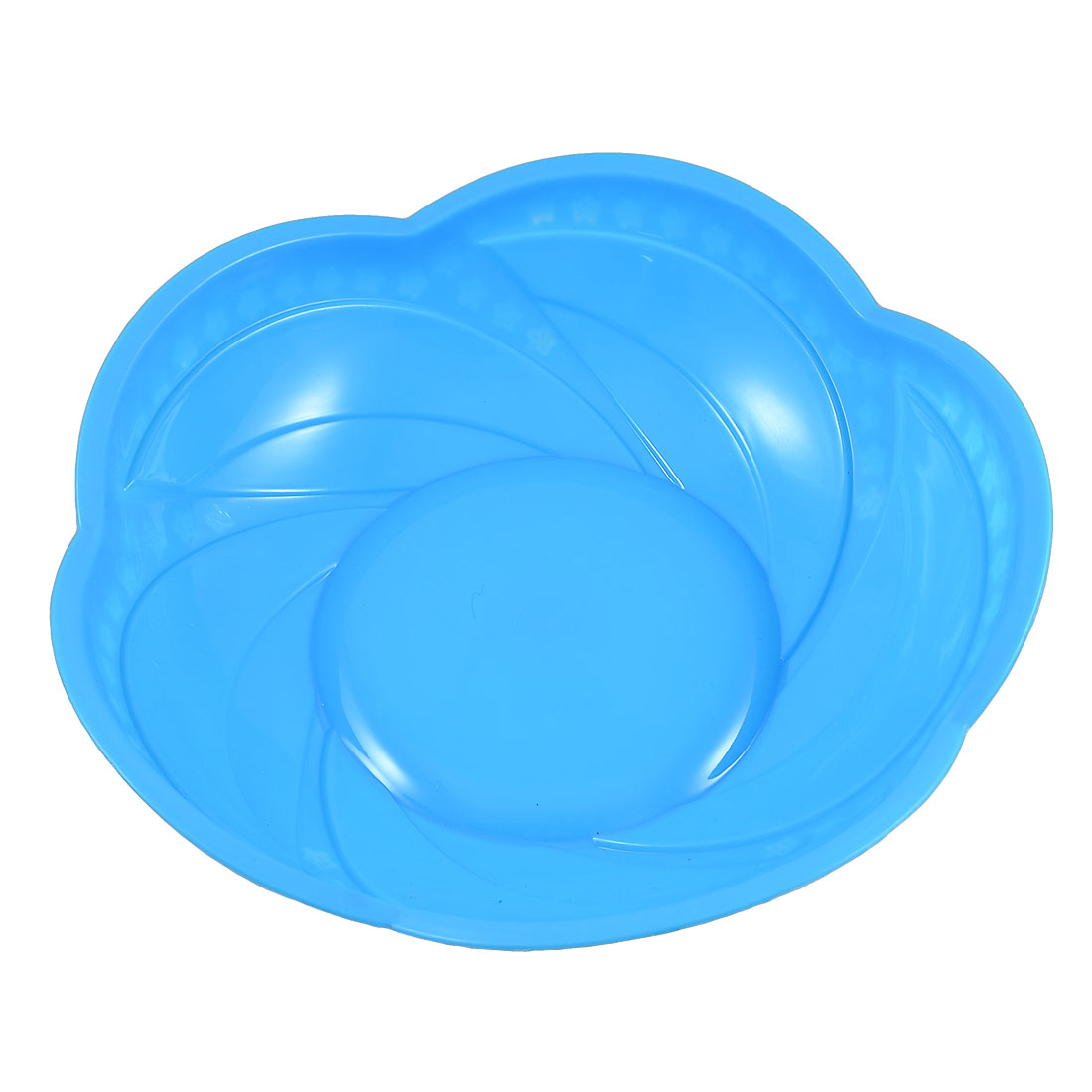 Home Kitchen Blue Plastic Floral Shaped Fruits Washing Container Plate