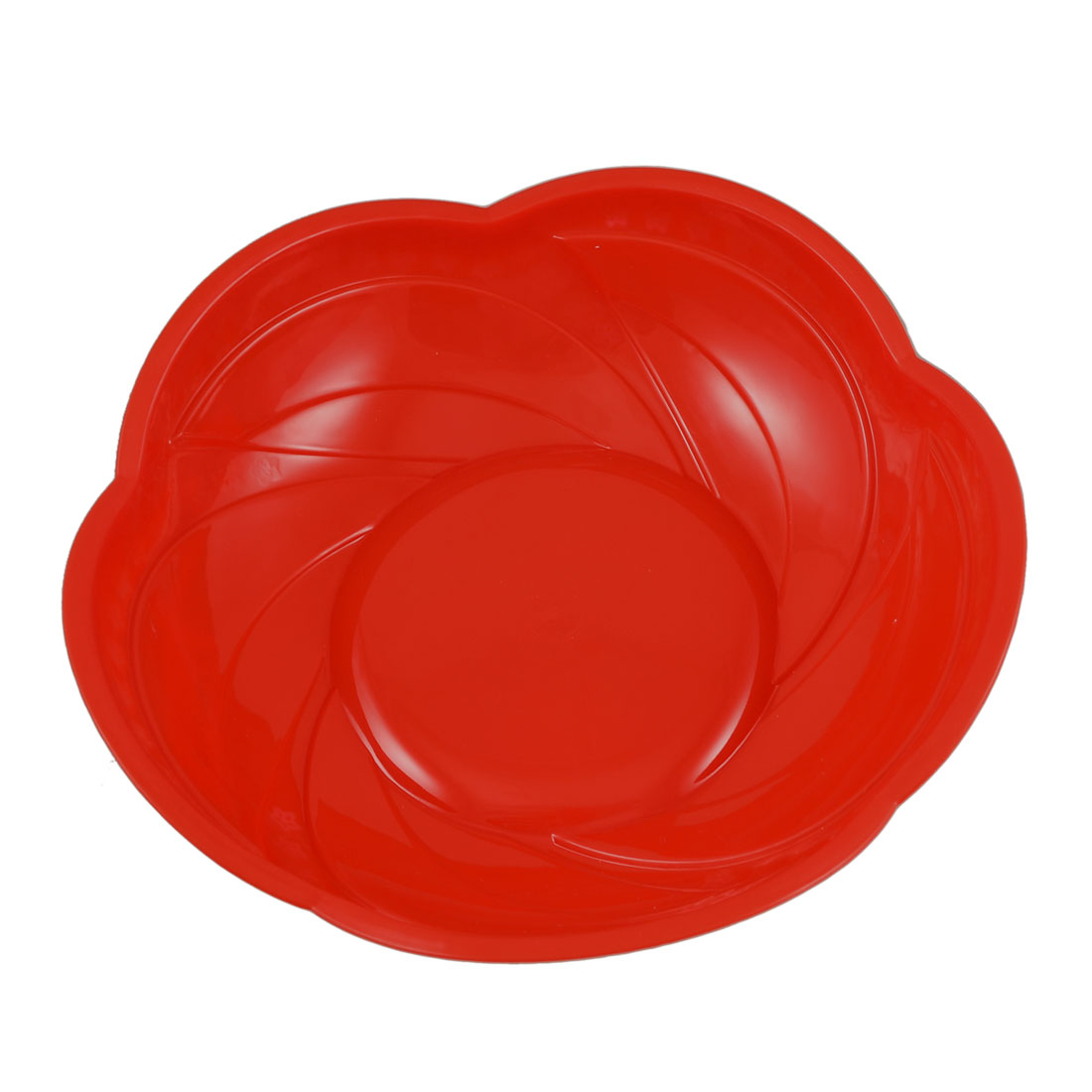 Kitchen Red Plastic Flower Shaped Fruits Washing Container Plate