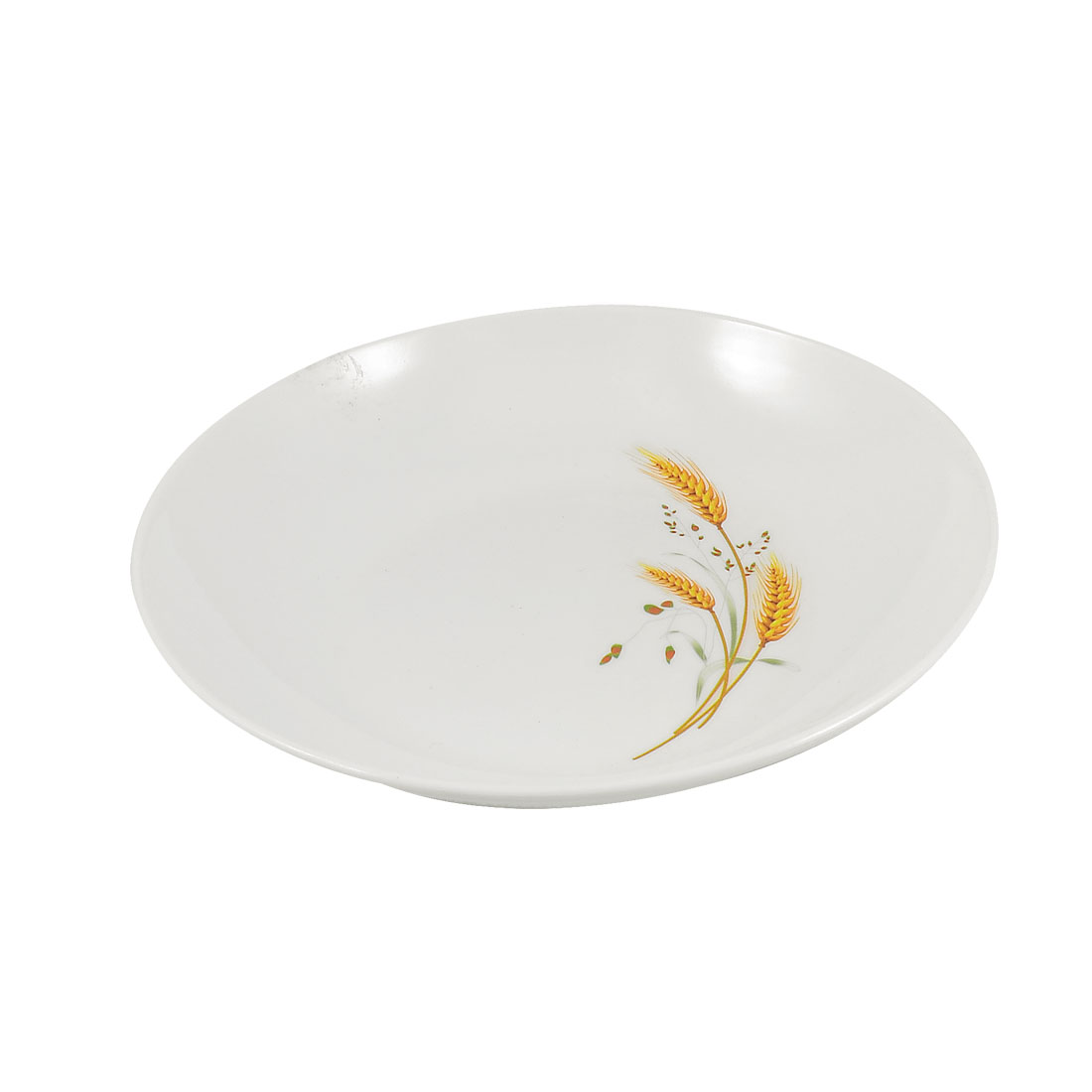 "7.5"" Dia Wheatear Print Round Hard Plastic Biscuit Fruit Dish Plate White"