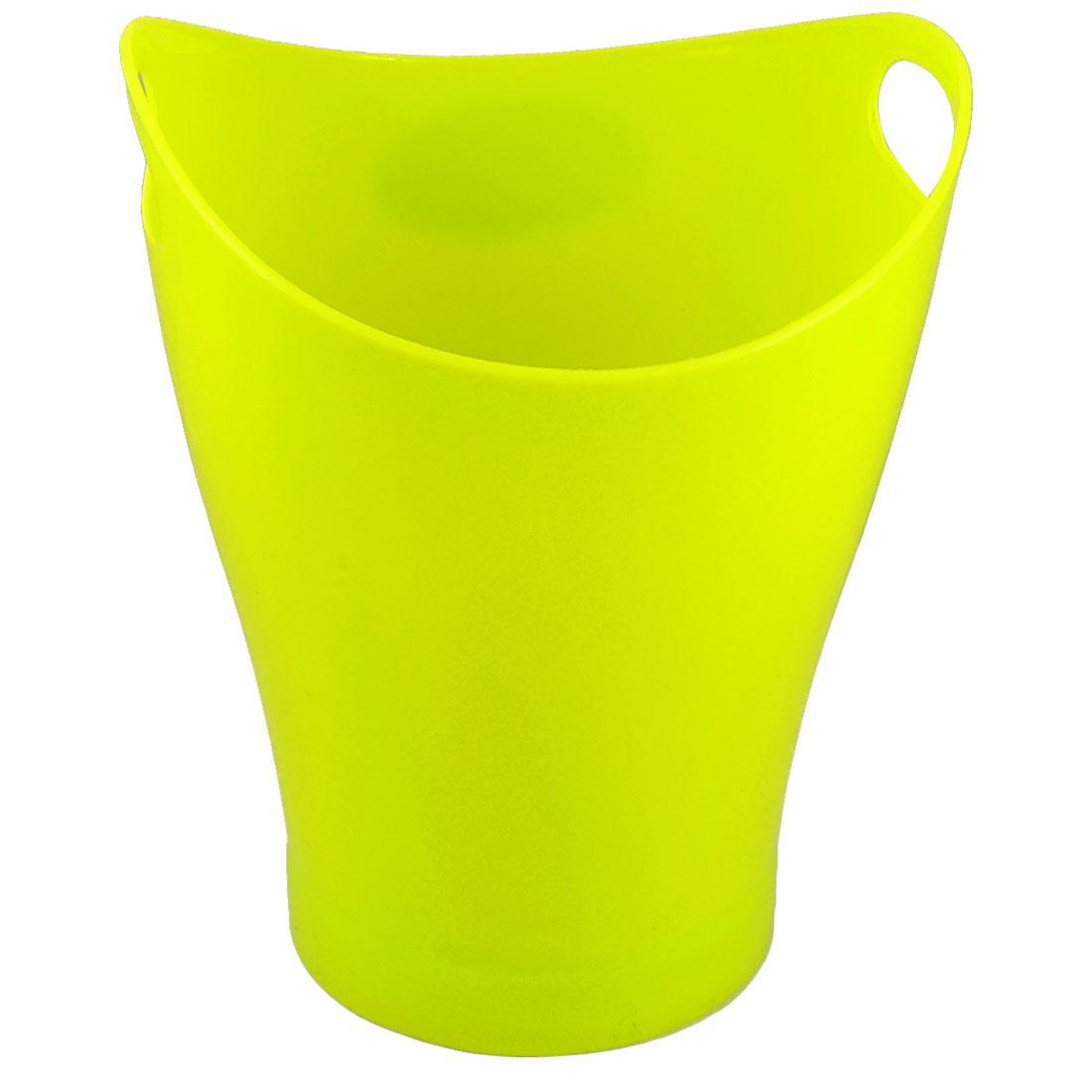 Desk Two Holes Yellowgreen Plastic Garbage Littler Bin