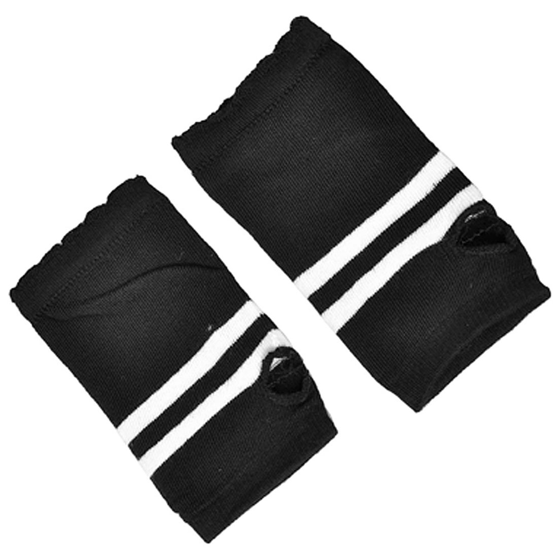 Ladies Lady Stripes Pattern Winter Knited Fingerless Gloves White Black