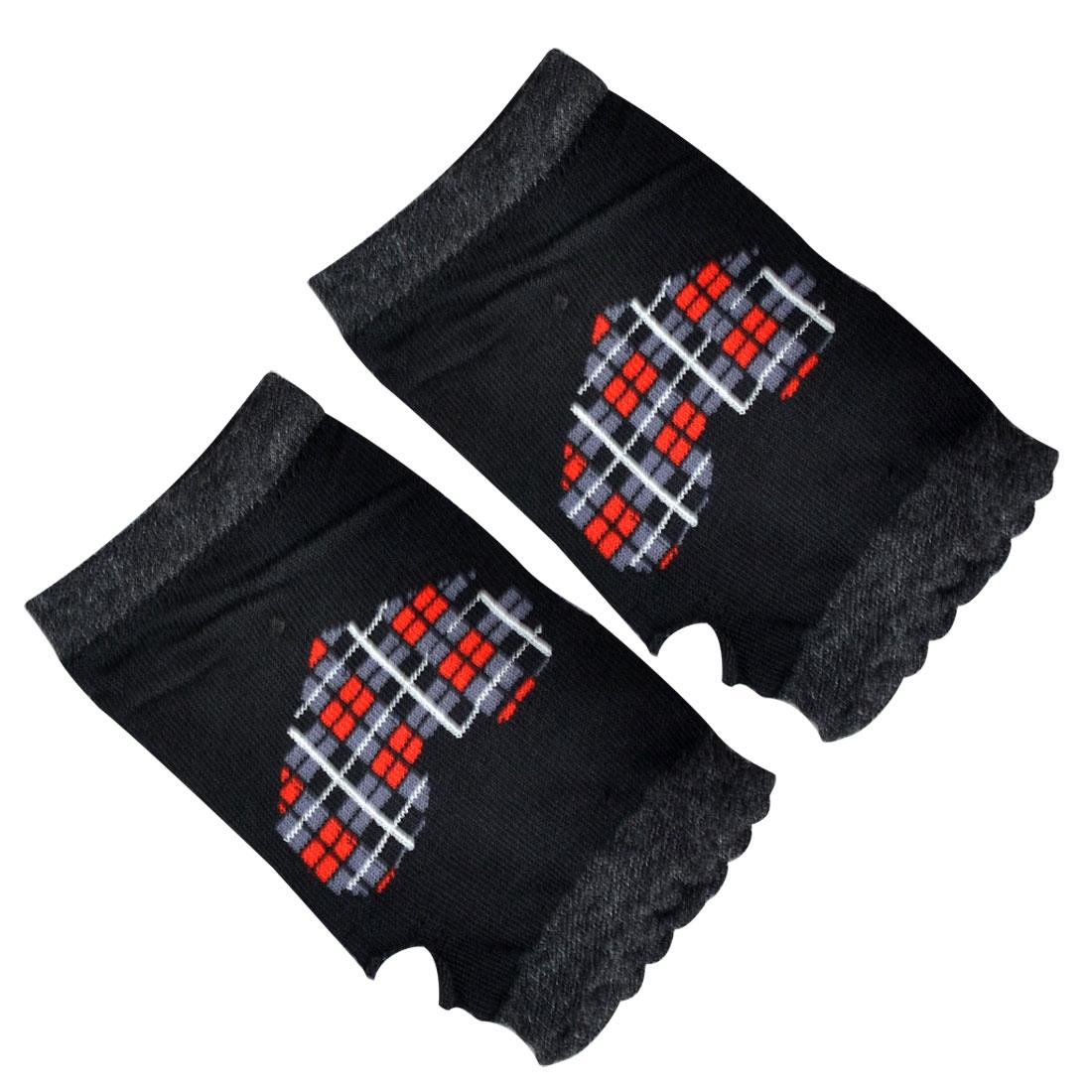 Lady Black Gray Heart Pattern Seamless Elastic Thumbhole Wrist Warmer Gloves